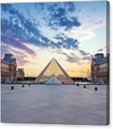 Sunset On The Louvre Canvas Print