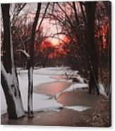 Sunset On The Red Cedar Canvas Print