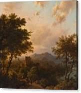 Sunset On The Rhine , Barend Cornelis Koekkoek Canvas Print