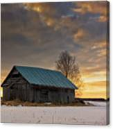 Sunset On The Snowy Fields Canvas Print