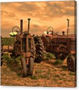 Sunset On The Tractors Canvas Print