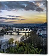 Sunset On The Vltava Canvas Print