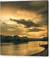 Sunset On The Willamette River Canvas Print