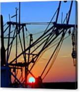 Sunset On Trawler Canvas Print