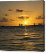 Sunset On Two Masts  Canvas Print