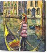 Sunset On Venice - The Gondolier Canvas Print