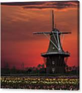 Sunset On Windmill Island Canvas Print