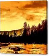 Sunset At  Yellowstone Lake Canvas Print