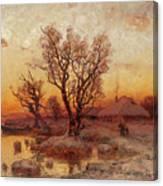 Sunset Over A Ukrainian Hamlet Canvas Print