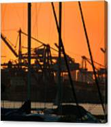 Sunset Over Alameda Harbor Canvas Print
