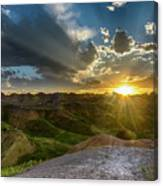 Sunset Over Badlands Np Yellow Mounds Overlook Canvas Print