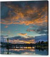 Sunset Over Boat Ramp At Anacortes Marina Canvas Print