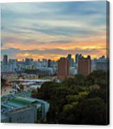Sunset Over Clarke Quay And Fort Canning Park Canvas Print