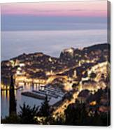 Sunset Over Dubrovnik In Croatia Canvas Print