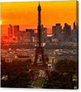 Sunset Over Eiffel Tower Canvas Print