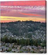 Sunset Over Happy Valley Residential Neighborhood Canvas Print