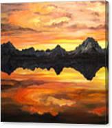 Sunset Over Jackson Lake And The Grand Tetons Canvas Print