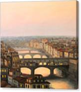 Sunset Over Ponte Vecchio In Florence Canvas Print