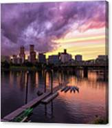Sunset Over Portland Oregon Downtown Waterfront Canvas Print
