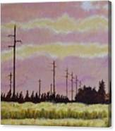 Sunset Over Powerlines Canvas Print