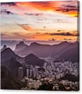 Sunset Over Rio De Janeiro  Canvas Print