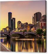 Sunset Over Skyscrapers Of Melbourne Downtown And Princes Bridge Canvas Print