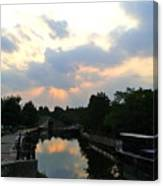 Sunset Over The Canal At Ladbroke Grove. Canvas Print