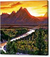 Sunset Over The Grand Tetons Canvas Print