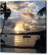 Sunset Over The Inifinity Pool At Frenchman's Cove In St. Thomas Canvas Print