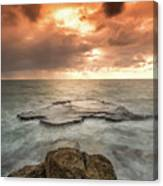 Sunset Over The Sea In Israel Canvas Print