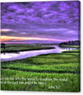 Sunset Over Turners Creek John 3 17 Canvas Print