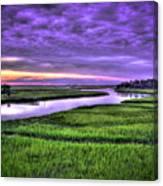 Sunset Over Turners Creek Savannah Tybee Island Ga Canvas Print