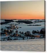 Sunset Over Winter Landscape Canvas Print