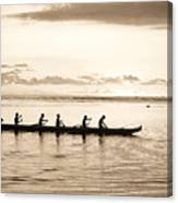 Sunset Paddlers - Sepia Canvas Print