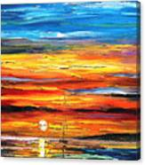 Sunset - Palette Knife Oil Painting On Canvas By Leonid Afremov Canvas Print