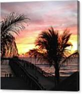 Sunset Palms At Sharky's On The Pier Canvas Print