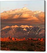 Sunset Panorama In Arches National Park Canvas Print