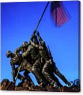 Sunset Photo At The Iwo Jima Monument Canvas Print