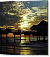 Sunset Pier Reflection Canvas Print