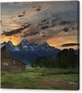 Moulton Barn Sunset Grand Teton National Park Canvas Print