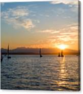 Sunset Sailboats Canvas Print