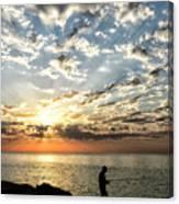 Sunset Sea Fishing  Canvas Print