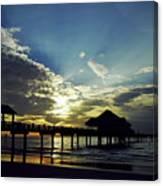 Sunset Silhouette Pier 60 Canvas Print