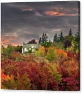 Sunset Sky Over Farm House In Rural Oregon Canvas Print