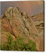 Sunset Storm Over Bentonite Site Boulders Canvas Print
