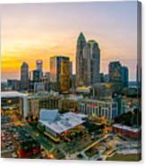 Sunset Sunrise Over Charlotte Skyline North Carolina Canvas Print