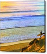 Sunset Surf At La Jolla Canvas Print