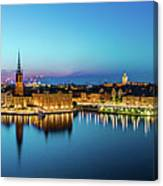 Sunset To Blue Hour Panorama Over Gamla Stan In Stockholm Canvas Print