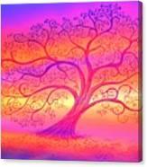 Sunset Tree Cats Canvas Print