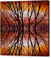 Sunset Tree Silhouette Abstract 2 Canvas Print